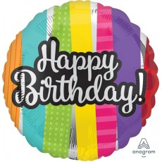 Happy Birthday Striped Pattern Foil Balloon
