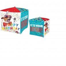 Cubez UltraShape Dog Happy Birthday! Shaped Balloon 38cm x 38cm