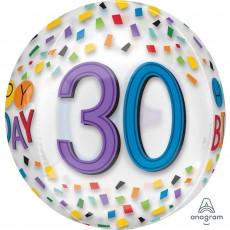 30th Birthday Clear Rainbow Confetti Shaped Balloon