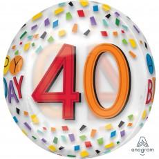 40th Birthday Clear Rainbow Birthday Shaped Balloon