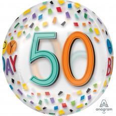 50th Birthday Rainbow Confetti Shaped Balloon