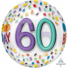 60th Birthday Rainbow Confetti Shaped Balloon