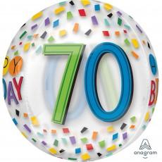 70th Birthday Rainbow Confetti Shaped Balloon