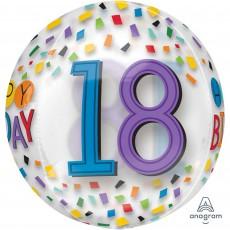 18th Birthday Multi Coloured Rainbow Confetti Shaped Balloon