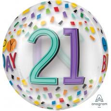 21st Birthday Rainbow Confetti Design Shaped Balloon