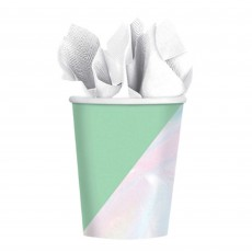 Iridescent Shimmering Party Paper Cups 266ml Pack of 8