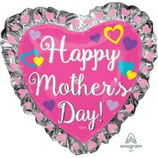 Mother's Day Hearts & Ruffle Frill Foil Balloon