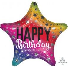 Star Rainbow Standard XL Happy Birthday Shaped Balloon 45cm