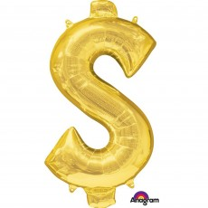 Dollar Sign Gold SuperShape Shaped Balloon