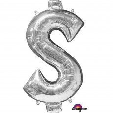 Dollar Sign Silver SuperShape Shaped Balloon