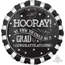 Chalkboard Hooray! Grad  Congratulations! Foil Balloon
