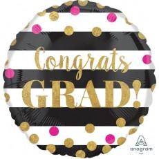 Graduation Standard Holographic Gold Confetti Foil Balloon