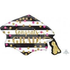 Graduation Confetti & Stripes Grad Cap Foil Balloon