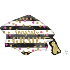 Graduation SuperShape Grad Cap Gold Confetti Shaped Balloon