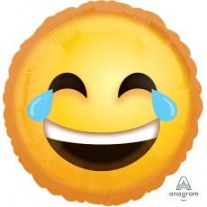 Round Emoji Standard HX Laughing Emoticon Foil Balloon 45cm
