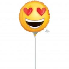 Emoji Yellow Love Heart Eyes Foil Balloon