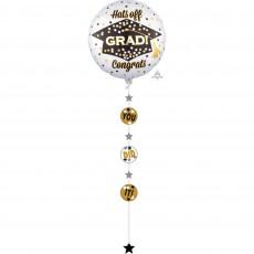Graduation Jumbo Holographic Hats off Grad! Congrats Shaped Balloon 81cm
