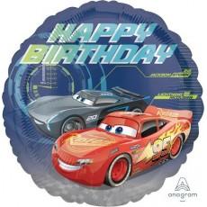Round Disney Cars 3 Standard HX Happy Birthday Foil Balloon 45cm