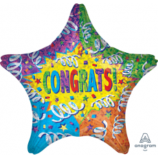 Star Congratulations Jumbo Holographic Streamer Explosion Congrats! Shaped Balloon 71cm