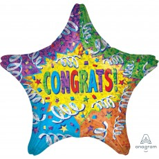 Congratulations Standard Holographic Streamer Explosion Shaped Balloon