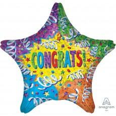 Star Congratulations Standard Holographic Streamer Explosion Congrats! Shaped Balloon 45cm