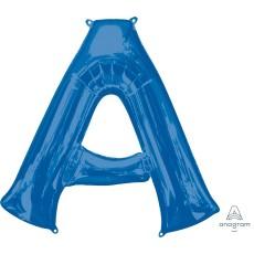 Blue Letter A SuperShape Shaped Balloon 86cm