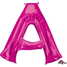 Pink Letter A SuperShape Shaped Balloon 86cm