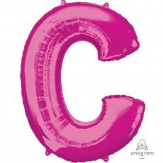 Pink Letter C SuperShape Shaped Balloon 86cm