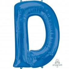 Letter D Blue Helium Saver Megaloon Foil Balloon