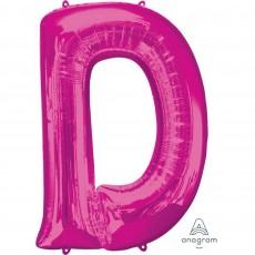 Pink Letter D SuperShape Shaped Balloon 86cm