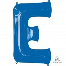 Blue Letter E SuperShape Shaped Balloon 86cm