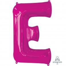 Pink Letter E SuperShape Shaped Balloon 86cm