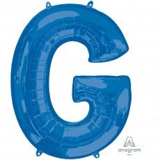 Blue Letter G SuperShape Shaped Balloon 86cm