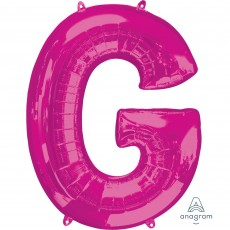 Pink Letter G SuperShape Shaped Balloon 86cm