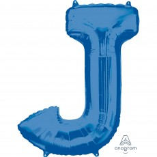 Blue Letter J SuperShape Shaped Balloon 86cm