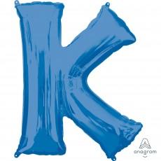 Blue Letter K SuperShape Shaped Balloon 86cm