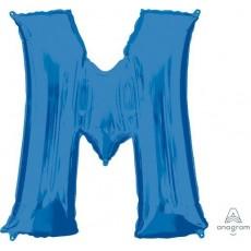 Blue Letter M SuperShape Shaped Balloon 86cm
