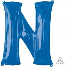 Blue Letter N SuperShape Shaped Balloon 86cm
