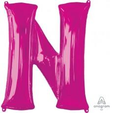 Pink Letter N SuperShape Shaped Balloon 86cm