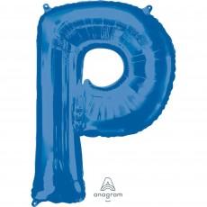 Blue Letter P SuperShape Shaped Balloon 86cm