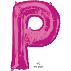 Pink Letter P SuperShape Shaped Balloon 86cm