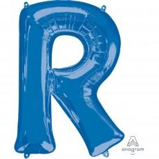 Letter R Blue Helium Saver Megaloon Foil Balloon