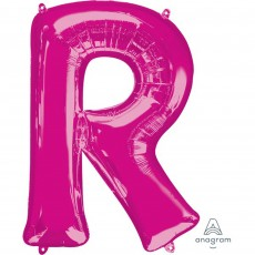 Pink Letter R SuperShape Shaped Balloon 86cm
