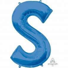 Blue Letter S SuperShape Shaped Balloon 86cm