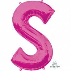Letter S Pink Helium Saver Megaloon Foil Balloon