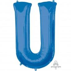 Letter U Blue Helium Saver Megaloon Foil Balloon