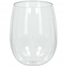 Clear Stemless Wine Glasses Plastic Glasses 354ml Pack of 8