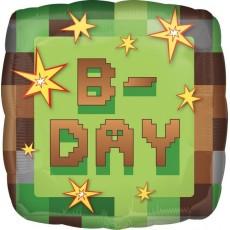 Square Minecraft TNT Standard HX B-Day Shaped Balloon 45cm