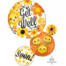 Get Well SuperShape XL Bubble Emoticons Shaped Balloon