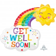 Get Well Party Decorations - Shaped Balloon Super XL Happy Rainbow